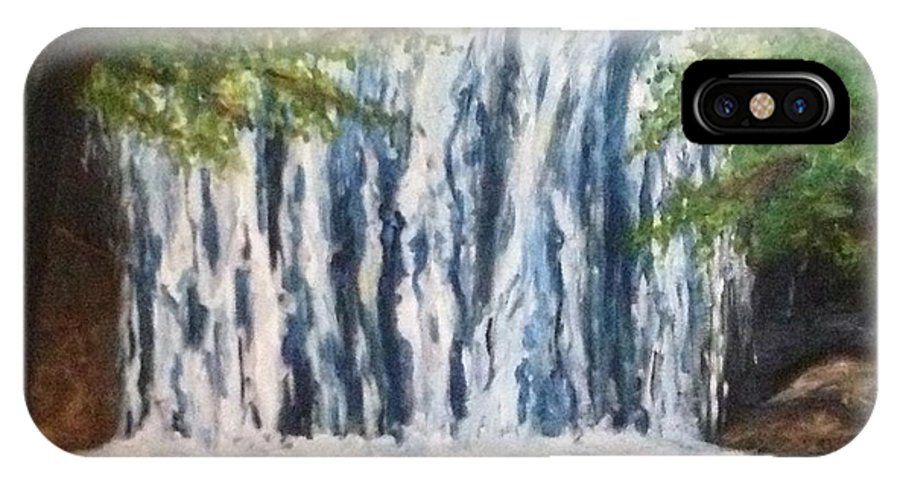 Waterfall IPhone X Case featuring the painting Hidden Waterfall by Christy Collins