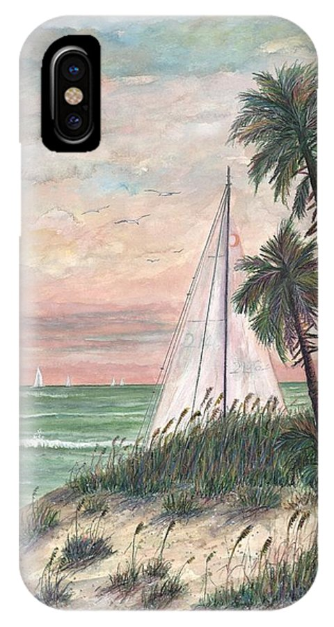 Sailboats; Palm Trees; Ocean; Beach; Sunset IPhone X Case featuring the painting Hideaway by Ben Kiger