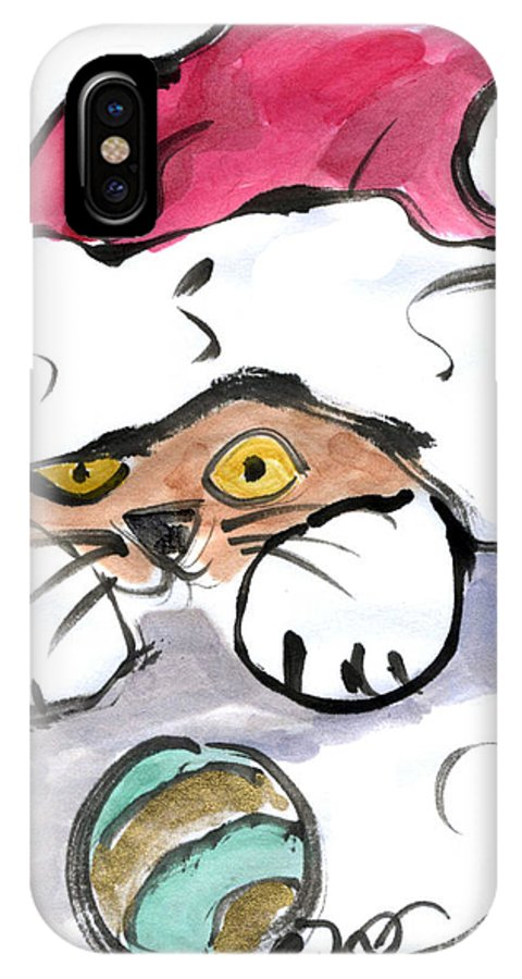 Sumi-e IPhone X Case featuring the painting Hiding In The Hat by Ellen Miffitt