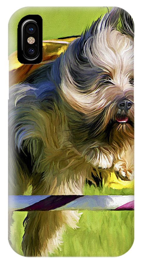 Silky Terrier IPhone Case featuring the painting High Flier by David Wagner