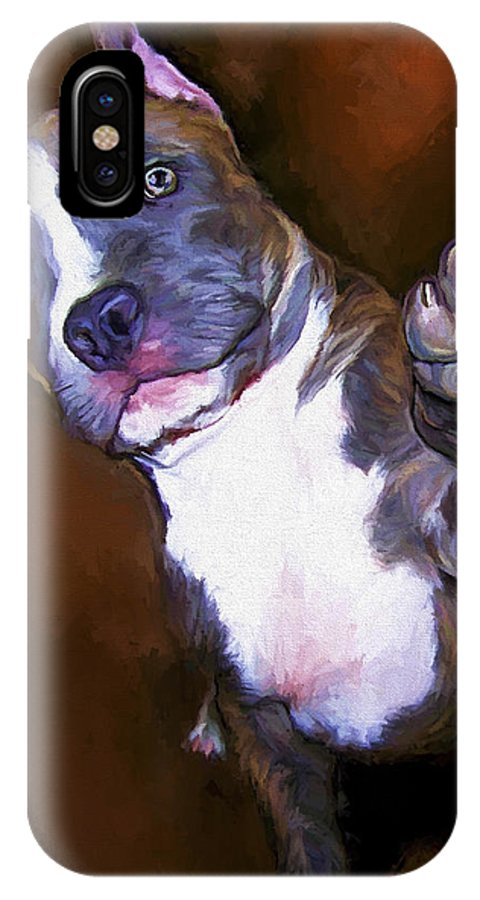 Pit Bull IPhone Case featuring the painting High Four by David Wagner