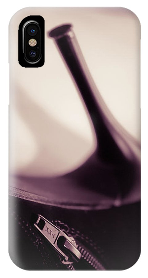 Brown IPhone X Case featuring the photograph High Heel Of A Brown Shoe by Vlad Baciu