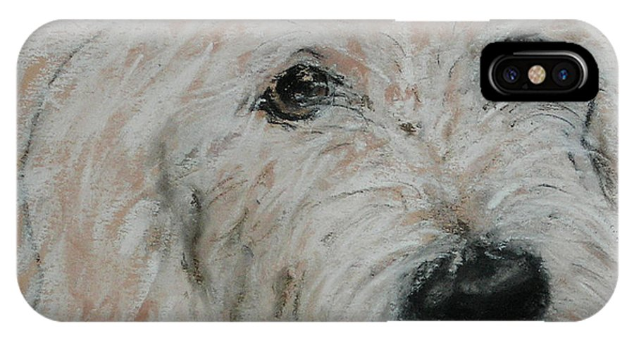 Dog IPhone X Case featuring the drawing High Spirits by Cori Solomon