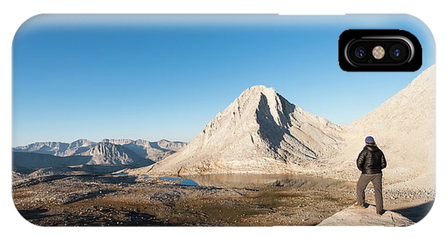 Beauty In Nature IPhone X Case featuring the photograph Hiker Looking Over Royce Lakes by Josh Miller Photography