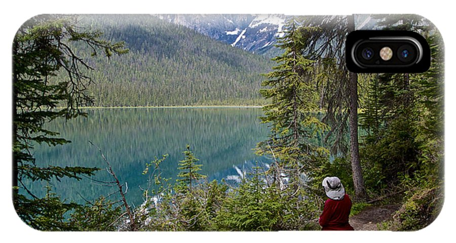 Hiking On Emerald Lake Trail In Yoho Np IPhone X Case featuring the photograph Hiking On Emerald Lake Trail In Yoho Np-bc by Ruth Hager