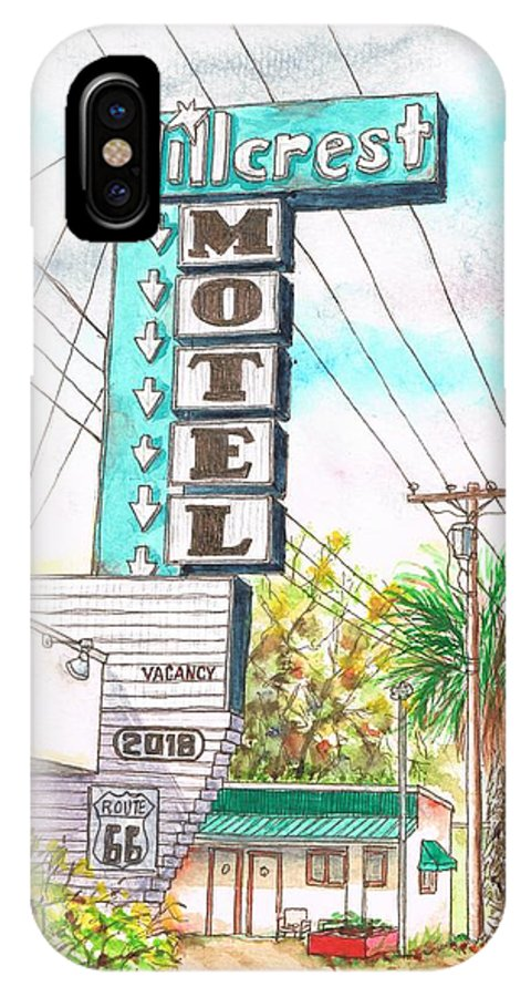 Route 66 IPhone X Case featuring the painting Hillcrest Motel In Route 66 - Andy Devine Ave In Kingman - Arizona by Carlos G Groppa