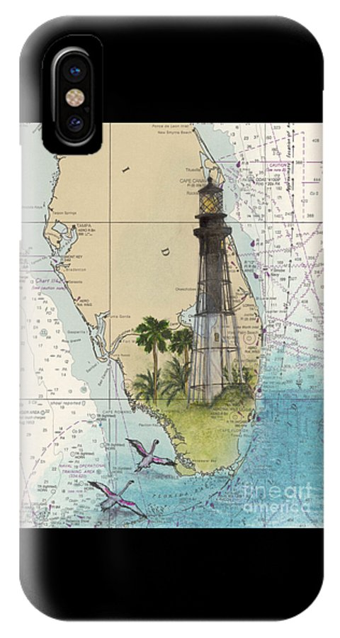 Hillsboro IPhone X Case featuring the painting Hillsboro Inlet Lighthouse Fl Cathy Peek Nautical Chart by Cathy Peek