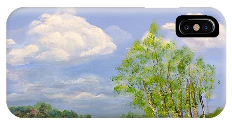 Landscape IPhone X Case featuring the painting Hilltop Birches by Peggy King