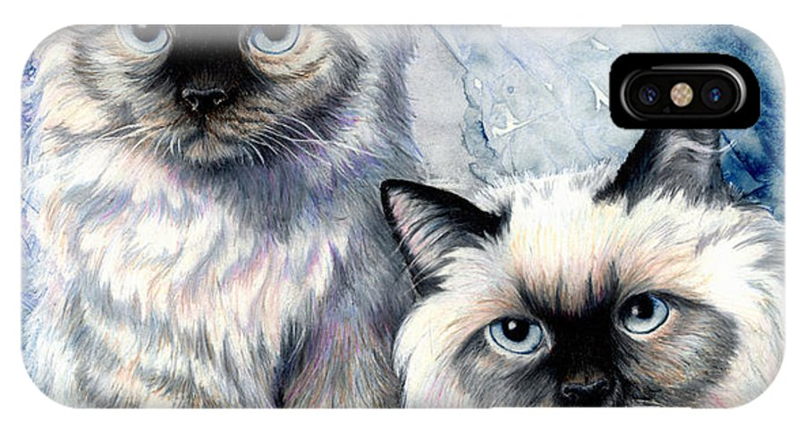 Cat IPhone X Case featuring the painting Himalayan Duo by Sherry Shipley