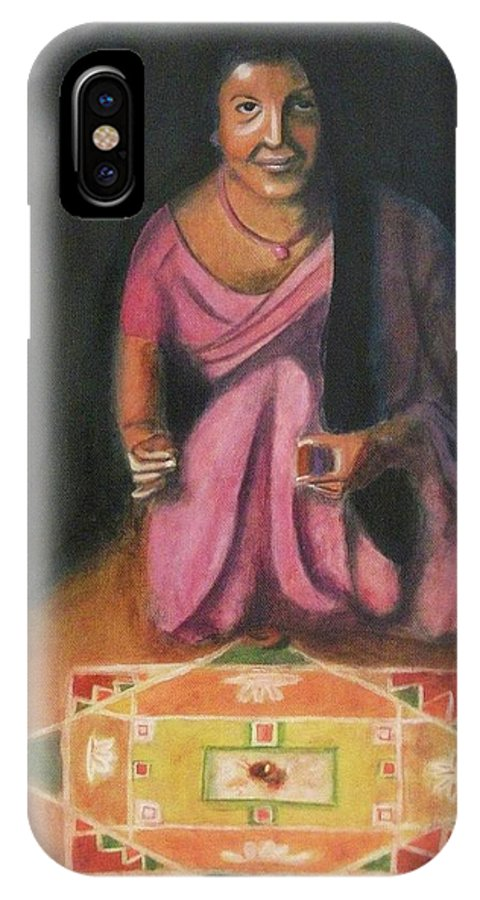 Hindu IPhone X Case featuring the painting Hindu Celebration by Suzanne Marie Leclair