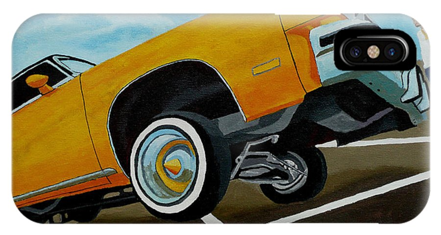 Chevy IPhone X Case featuring the painting Hip Hoppin Chevy by Anthony Dunphy