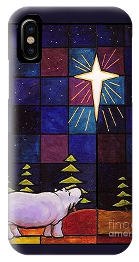 Christmas IPhone X Case featuring the painting Hippo Awe And Wonder by Jim Harris