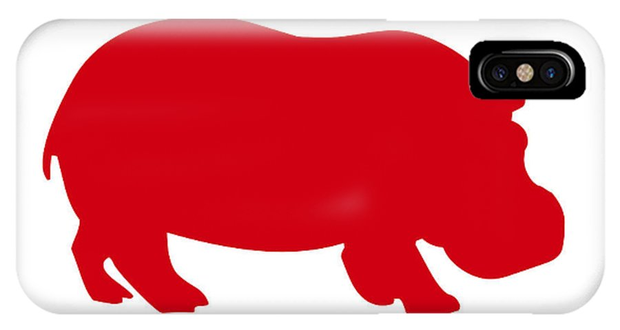 Graphic Art IPhone X Case featuring the digital art Hippo In Red And White by Jackie Farnsworth