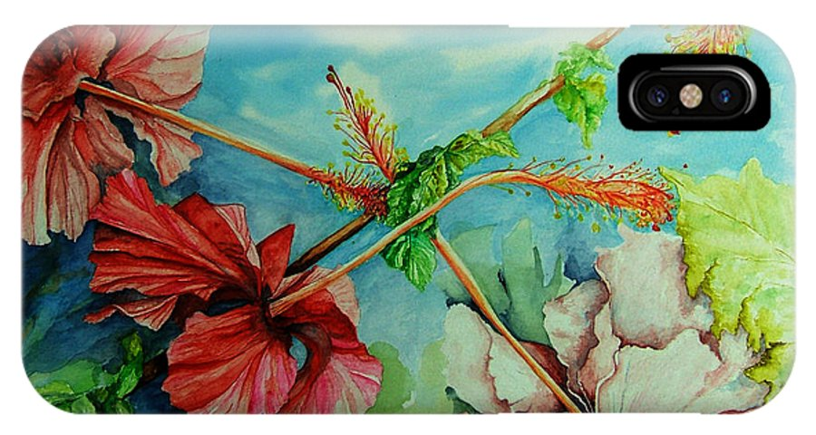 Red IPhone X / XS Case featuring the painting Hiroko's Hibiscus 3 by Rachel Lowry