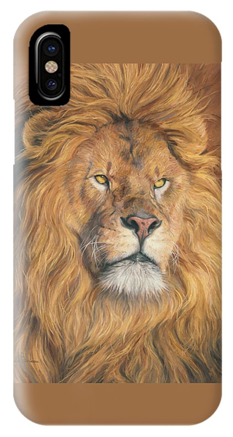 Lion IPhone X Case featuring the painting His Majesty - Detail by Lucie Bilodeau