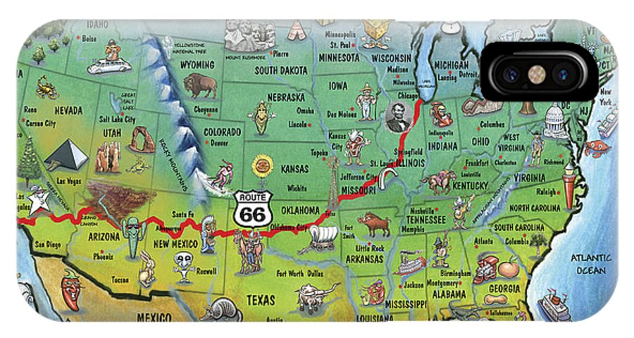 Historic Route Cartoon Map IPhone Case For Sale By Kevin Middleton - Original route 66 map