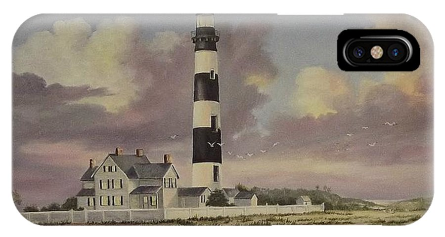 Lighthouse IPhone X Case featuring the painting History Of Morris Lighthouse by Wanda Dansereau