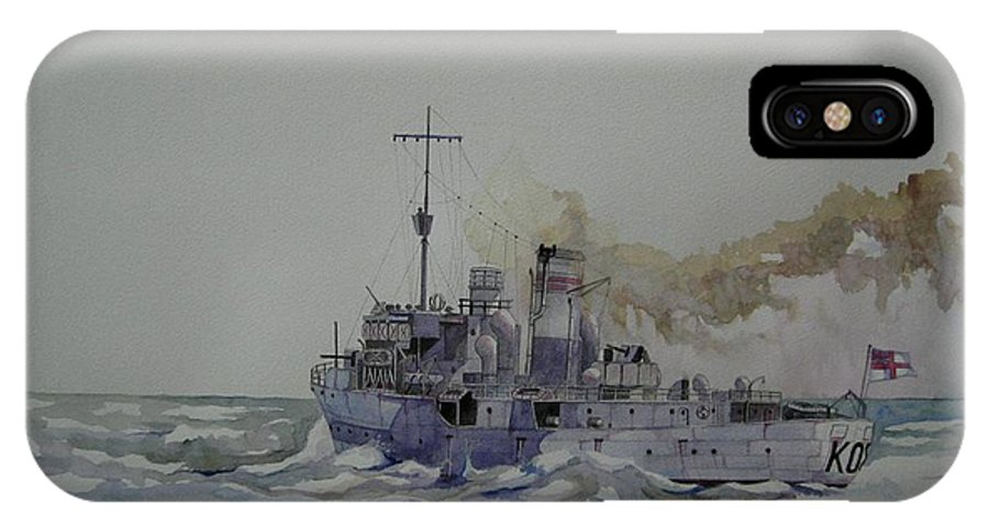 Royal Navy IPhone X Case featuring the painting Hms Spiraea by Ray Agius