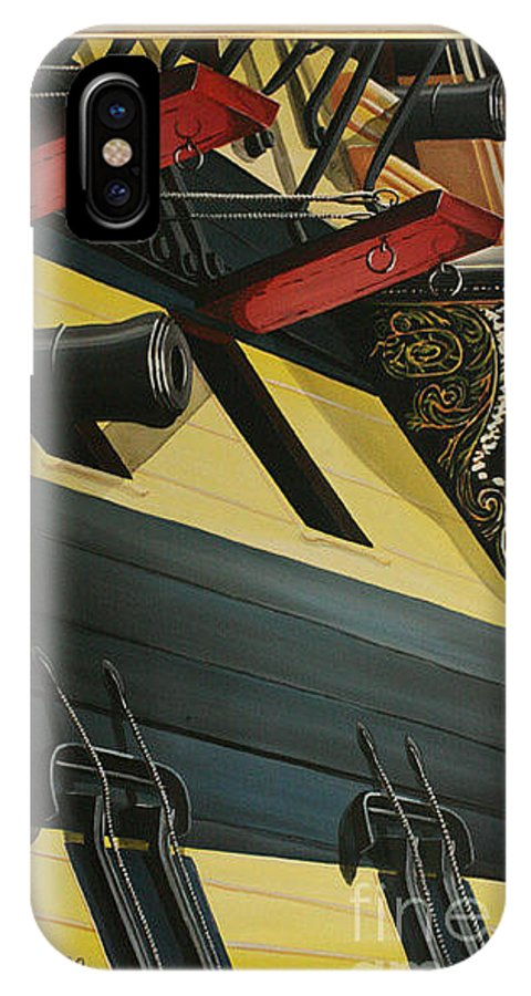 Battle Of Trafalgar IPhone X Case featuring the painting Hms Victory Starboard Battery 1765 by Richard John Holden RA