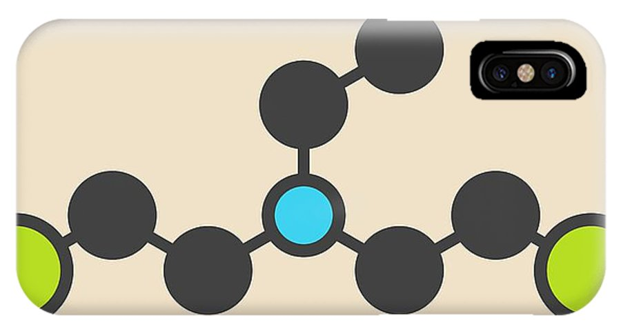 Hn1 IPhone X Case featuring the photograph Hn1 Nitrogen Mustard Molecule by Molekuul
