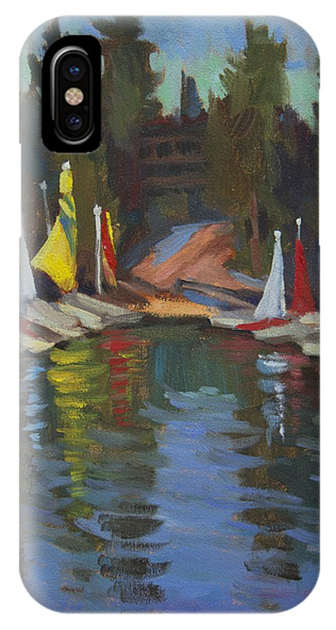 Hobie Cat IPhone X Case featuring the painting Hobie Cats At Lake Arrowhead by Diane McClary