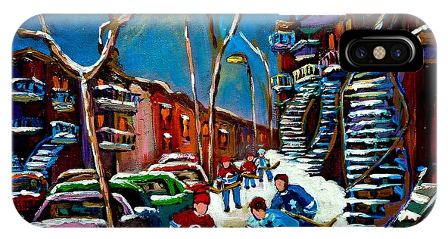 Winter IPhone X Case featuring the painting Hockey Game On De Bullion Montreal City Scene by Carole Spandau