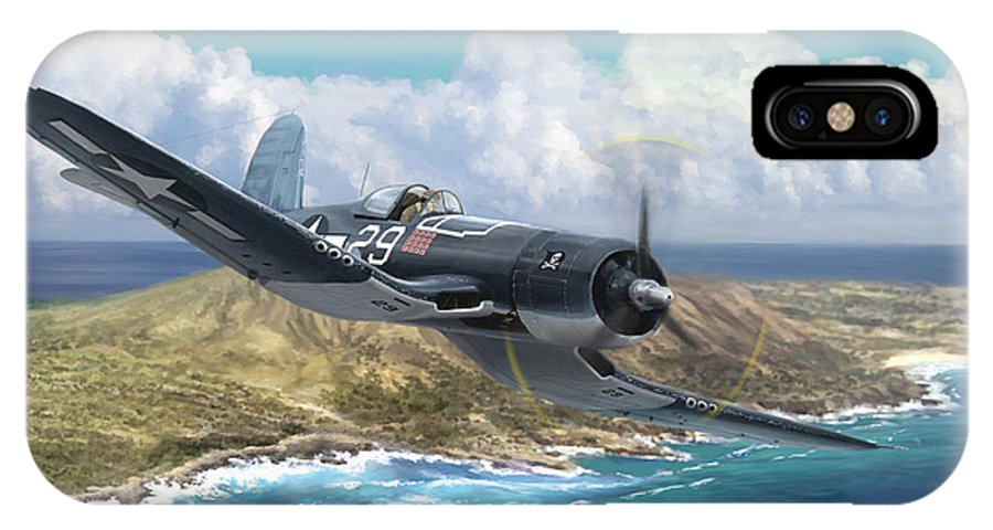 Ike Kepford IPhone X Case featuring the painting Hog Driver Vf 17 Jolly Rogers Top Ace Ike Kepford by Mark Karvon