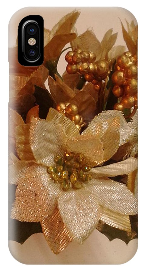 Gold IPhone X Case featuring the photograph Holiday Flowers by Erica Darknell