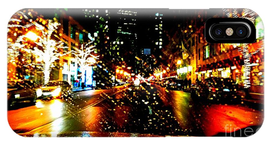 Holiday Light In Boston. Christman Light. Trees Decor. Photograph. Building. Stree Of Holiday. Greeting Cards. Rose Wang Image. Rose Wang Art. Custome Order. Landscape Go Holiday. IPhone X / XS Case featuring the photograph Holiday Light by Rose Wang