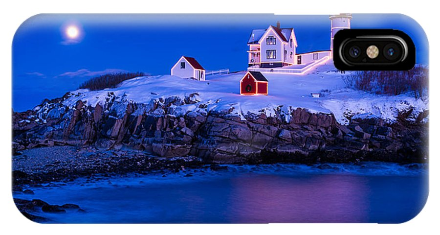 Cape Neddick IPhone X Case featuring the photograph Holiday Moon by Michael Blanchette