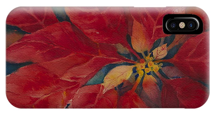 Floral IPhone X Case featuring the painting Holiday Poinsettia by Cynthia Roudebush