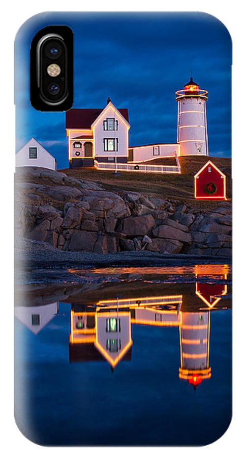 Cape Neddick IPhone X Case featuring the photograph Holiday Reflection by Michael Blanchette