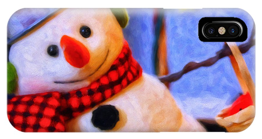 Snowman IPhone X Case featuring the painting Holiday Snowman by Michael Pickett