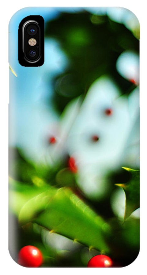 Holiday IPhone X Case featuring the photograph Holly Daze by Rebecca Sherman