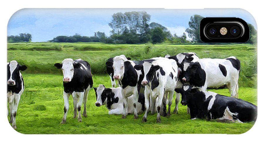 Cattle IPhone X Case featuring the painting Holstein Heaven by Dominic Piperata