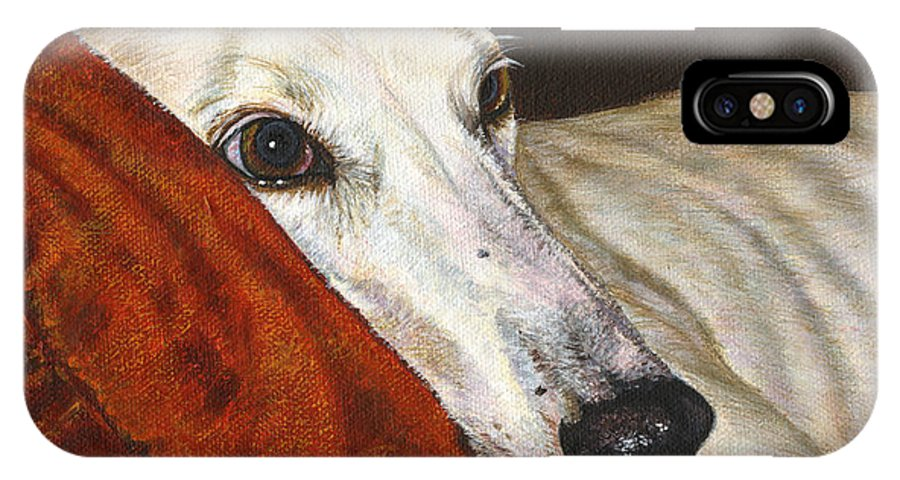 Dog Greyhound White Racing Race Canine Pet Animal Save IPhone X Case featuring the painting Home At Last by Akiko Watanabe