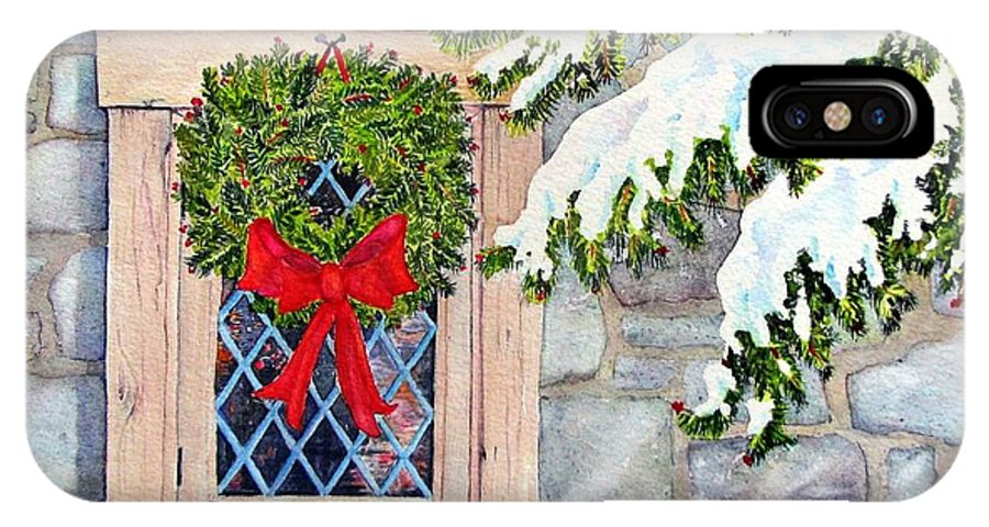 Card IPhone X Case featuring the painting Home For The Holidays by Mary Ellen Mueller Legault