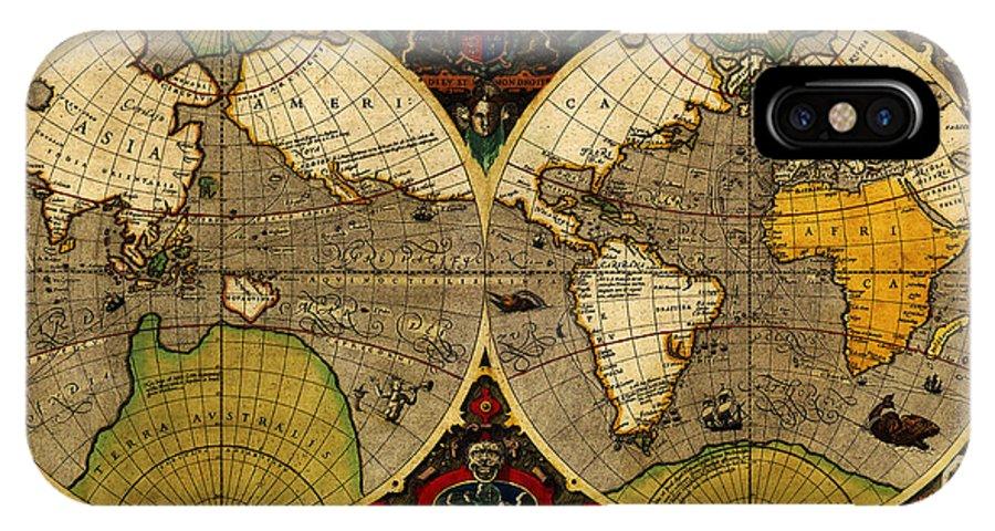 Hondius Map Of The World 1595 Art IPhone X Case featuring the painting Hondius Map Of The World 1595 by MotionAge Designs