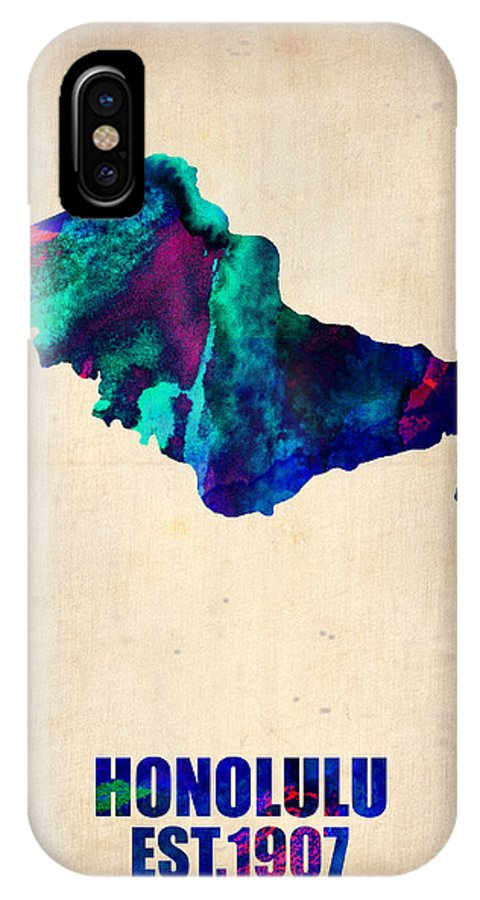 Honolulu IPhone X / XS Case featuring the painting Honolulu Watercolor Map by Naxart Studio