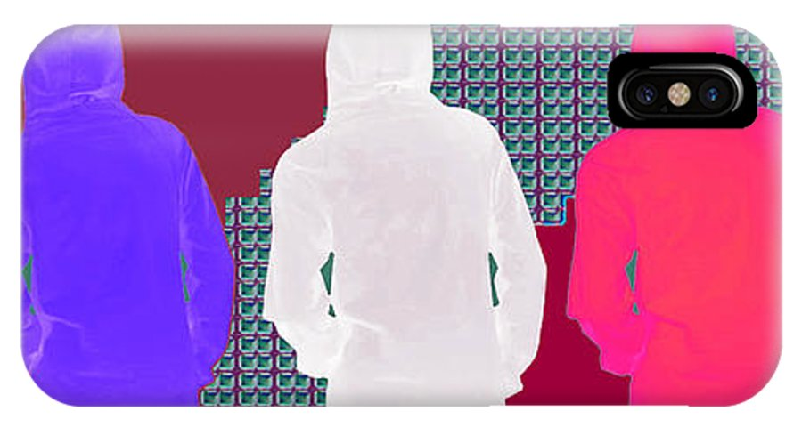 Hoodie IPhone X Case featuring the mixed media Hoodie Gang Graffiti Fashion Background Designs And Color Tones N Color Shades Available For Downlo by Navin Joshi