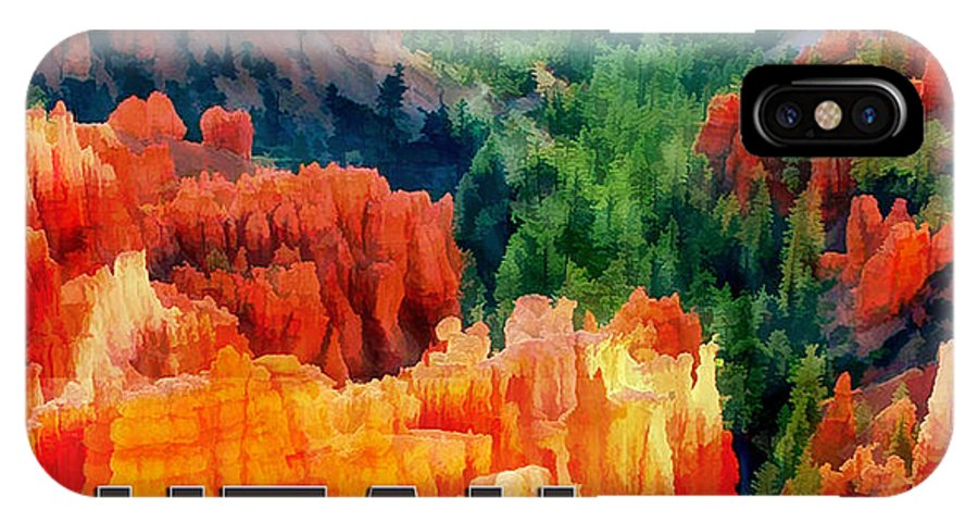 Travel IPhone X Case featuring the painting Hoodoos In Bryce Canyon Utah by Elaine Plesser