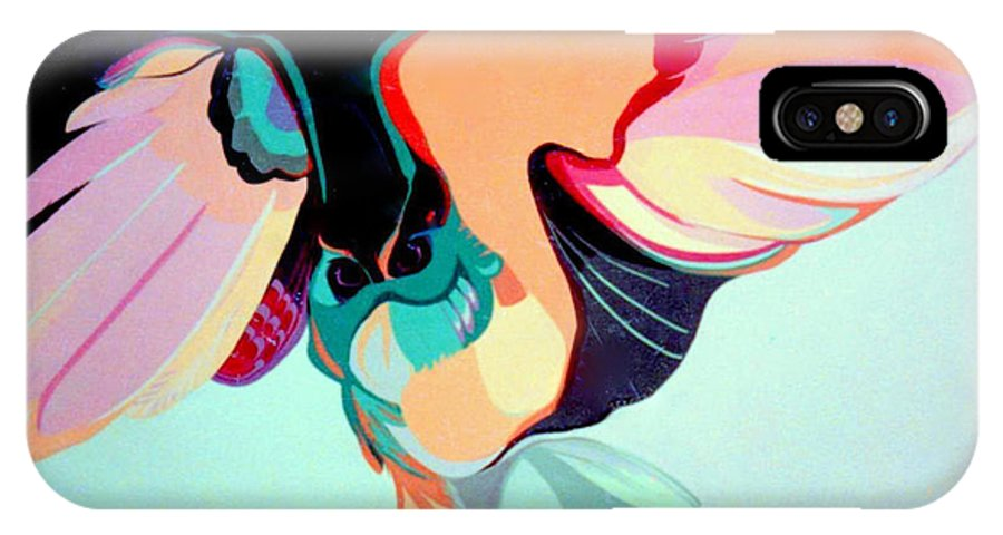 Bird IPhone X Case featuring the painting Hooters by Marlene Burns