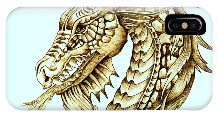 Dragon IPhone Case featuring the pyrography Horned Dragon by Danette Smith
