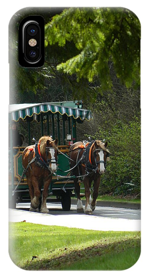 Hurse IPhone X Case featuring the photograph Horse Drawn Trolely by Nicki Bennett