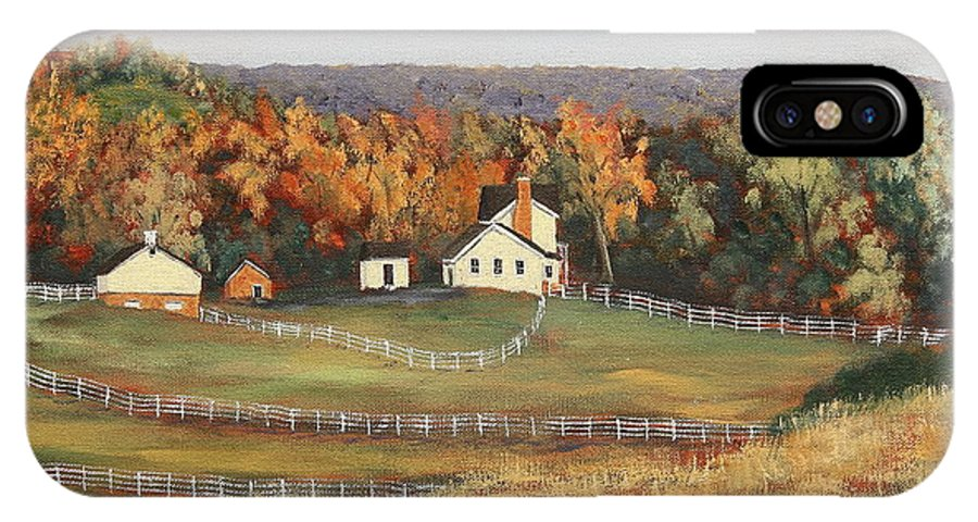 Painting IPhone X Case featuring the painting Horse Farm by Alan Mager