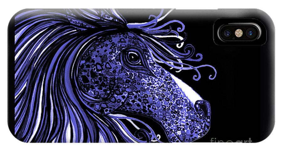 Horse IPhone X Case featuring the drawing Horse Head Blues by Nick Gustafson