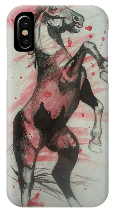 Horse IPhone X Case featuring the painting Horse by Karen Cassels