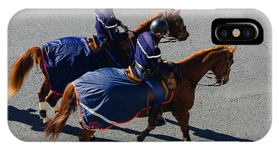 Photograph IPhone X Case featuring the photograph Horse Police by Pati Photography