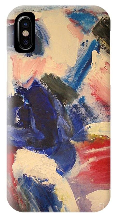 Competition IPhone X / XS Case featuring the painting Horse- Race Competition On Snow St Moritz by Fereshteh Stoecklein