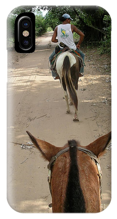 Horse Riding In The Pantenal IPhone X Case featuring the digital art Horse Riding by Carol Ailles